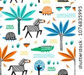 safari animals seamless pattern ... | Shutterstock .eps vector #1076835995