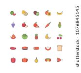 food filled outline icons 25 | Shutterstock .eps vector #1076845145