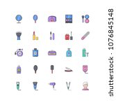 beauty filled outline icons 25 | Shutterstock .eps vector #1076845148