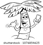 black and white illustration of ... | Shutterstock . vector #1076854625
