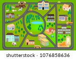 cartoon map with roads  cars... | Shutterstock .eps vector #1076858636
