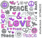 peace   love sketchy notebook... | Shutterstock .eps vector #107686232