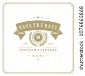 wedding save the date... | Shutterstock .eps vector #1076863868