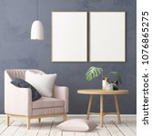 interior in lag style with an... | Shutterstock . vector #1076865275