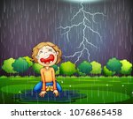 a crying kid lost in the wood... | Shutterstock .eps vector #1076865458