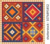 turkish carpet oriental pattern ... | Shutterstock .eps vector #1076891852