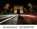 arc de triomphe at night  paris ... | Shutterstock . vector #1076900705