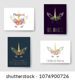 unicorn horn in flowers and... | Shutterstock .eps vector #1076900726