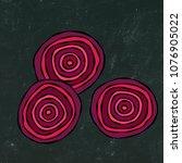 black chalk board. ripe beet  ... | Shutterstock .eps vector #1076905022