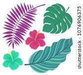 vector tropical leaves. hand... | Shutterstock .eps vector #1076906375