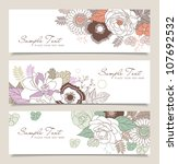 Stock vector set of horizontal banners with flowers 107692532