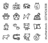 set of 16 animals outline icons ... | Shutterstock .eps vector #1076926508