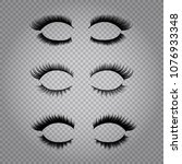 set of realistic false lashes... | Shutterstock .eps vector #1076933348