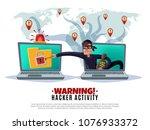 hacker activity  cracker during ... | Shutterstock .eps vector #1076933372