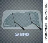 car windscreen wipe glass...   Shutterstock .eps vector #1076933402