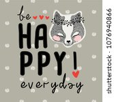 be happy everyday slogan and... | Shutterstock .eps vector #1076940866