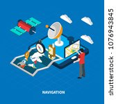 navigation concept with map and ... | Shutterstock .eps vector #1076943845