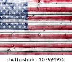 The Usa Flag Painted On Wooden...
