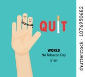 human hands and quit tobacco...   Shutterstock .eps vector #1076950682