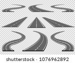 set of roads and road bends.... | Shutterstock .eps vector #1076962892