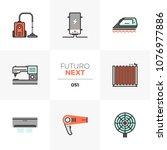 modern flat icons set of... | Shutterstock .eps vector #1076977886