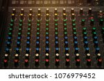 audio controler panel with... | Shutterstock . vector #1076979452