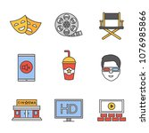 cinema color icons set. hd... | Shutterstock .eps vector #1076985866