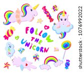 set of funny and colorful... | Shutterstock .eps vector #1076992022