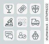 premium set of outline icons.... | Shutterstock .eps vector #1076996222