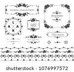 set of flourish frames  borders ... | Shutterstock .eps vector #1076997572