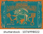 vintage poster with motorcycle...   Shutterstock .eps vector #1076998022