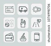 premium set of outline icons.... | Shutterstock .eps vector #1076998706