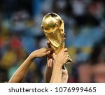 Small photo of RIO DE JANEIRO, BRAZIL - July 13, 2014: The World Cup Trophy during the celebrations after the 2014 World Cup final game between Germany and Argentina at Maracana Stadium