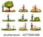 flat vector set of farmer... | Shutterstock .eps vector #1077000188