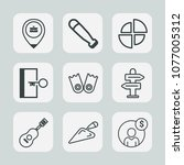 premium set of outline icons.... | Shutterstock .eps vector #1077005312