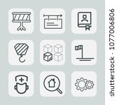premium set of outline icons.... | Shutterstock .eps vector #1077006806