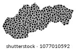 slovakia map mosaic of round... | Shutterstock .eps vector #1077010592
