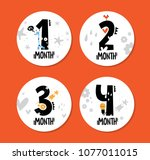 monthly baby stickers with cute ... | Shutterstock .eps vector #1077011015