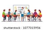 smiling teacher woman giving... | Shutterstock .eps vector #1077015956