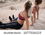 two girls doing fitness... | Shutterstock . vector #1077026225