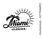 miami florida. black and white... | Shutterstock .eps vector #1077046892