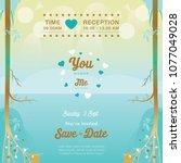 wedding invitation lake and... | Shutterstock .eps vector #1077049028