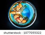 shrimps lunch blue plate food... | Shutterstock . vector #1077055322
