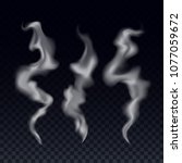realistic steam smoke waves set.... | Shutterstock .eps vector #1077059672