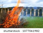 campfire flame and smoke with... | Shutterstock . vector #1077061982