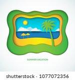 tropical beach landscape in...   Shutterstock .eps vector #1077072356