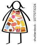simple overweight stick figure... | Shutterstock .eps vector #1077073226