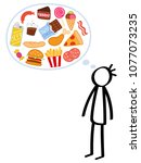 slim stick figure man  hungry ... | Shutterstock .eps vector #1077073235