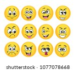 vector emoticons emoji set.... | Shutterstock .eps vector #1077078668