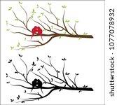 bird wall decal sticker vector...   Shutterstock .eps vector #1077078932